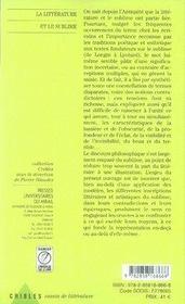 La littérature et le sublime - 4ème de couverture - Format classique