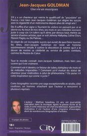 Jean-jacques goldman une vie en musiques - 4ème de couverture - Format classique