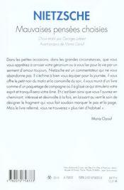 Mauvaises Pensees Choisies - 4ème de couverture - Format classique