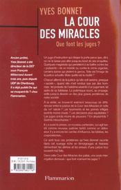 La cour des miracles - que font les juges ? - 4ème de couverture - Format classique