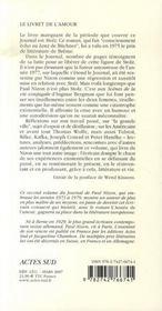 Le livret de l'amour ; journal 1973-1979 - 4ème de couverture - Format classique