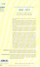 Emile zola oeuvre complete tome 3 la naissance du naturalisme 1868-1870 - 4ème de couverture - Format classique