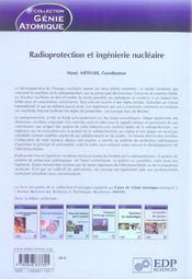 Radioprotection et ingénierie nucléaire - 4ème de couverture - Format classique