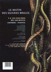 Le Matin Des Suaires Brules T.4 ; Les Racines Du Sacrifice - 4ème de couverture - Format classique