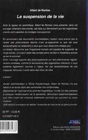 Suspension de la vie (la) - 4ème de couverture - Format classique