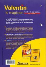 Valentin le magicien ; méthode de lecture ; CP ; livre du maître (édition 2003) - 4ème de couverture - Format classique