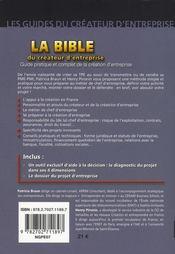 La bible du createur d'entreprise - 4ème de couverture - Format classique