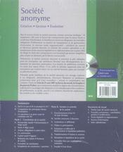Société anonyme ; création, gestion, évolution (20e édition) - 4ème de couverture - Format classique