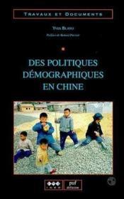 Des politiques demographiques en chine - Couverture - Format classique
