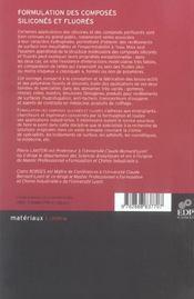 Formulation des composés siliconés et fluorés - 4ème de couverture - Format classique