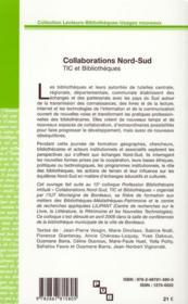 Collaborations Nord-Sud ; TIC et bibliothèques - 4ème de couverture - Format classique