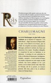 Charlemagne ; 768-814 ; fils de Pépin Le Bref - 4ème de couverture - Format classique