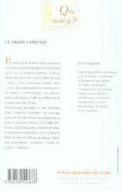Le droit comparé - 4ème de couverture - Format classique