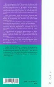Les Theories De La Complexite En Geographie - 4ème de couverture - Format classique