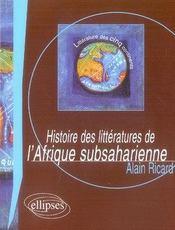 Histoire des littérature de l'afrique subsaharienne - Intérieur - Format classique