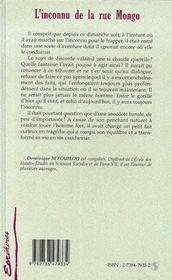 L'Inconnu De La Rue Mongo - 4ème de couverture - Format classique