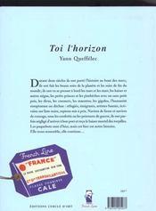 Toi L'Horizon - 4ème de couverture - Format classique