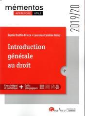 Introduction générale au droit (édition 2019/2020) - Couverture - Format classique