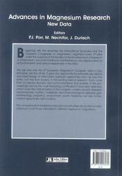 Advances In Magnesium Research. New Data - 4ème de couverture - Format classique