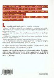 Regime Detox-Minceur - Maigrir Vite, Bien Et Pour Longtemps - 4ème de couverture - Format classique