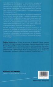 Les approches écologiques en linguistique ; enquête critique - 4ème de couverture - Format classique