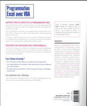 Programmation Excel avec VBA ; compatible avec toutes les versions d'Excel - 4ème de couverture - Format classique