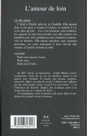 L'amour de loin - 4ème de couverture - Format classique