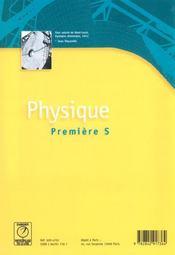 Physique ; 1e s - 4ème de couverture - Format classique