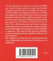 Le Petit Livre Du Tao Te-Ching - 4ème de couverture - Format classique