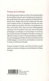 Poétique de la théologie - 4ème de couverture - Format classique