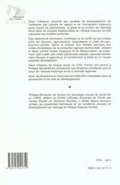 Vache De La Houe, Vache De La Dot. Élevage Bovin Et Rapports De Production En Moyenne Et Haute Côte D'Ivoire - 4ème de couverture - Format classique