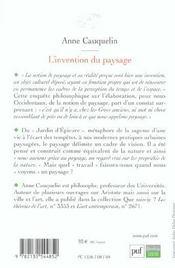 L'INVENTION DU PAYSAGE (3e édition) - 4ème de couverture - Format classique