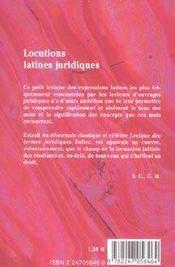 Locutions Latines Juridiques - 4ème de couverture - Format classique