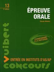 Épreuve orale ; entrée en instituts d'as/ap (3e édition) - Intérieur - Format classique