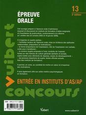 Épreuve orale ; entrée en instituts d'as/ap (3e édition) - 4ème de couverture - Format classique