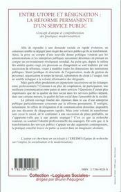 Entre Utopie Et Resignation ; La Reforme Permanente D'Un Service Public - 4ème de couverture - Format classique