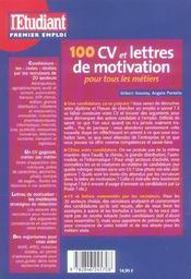 100 Cv Et Lettres De Motivation Pour Tous Les Secteurs - 4ème de couverture - Format classique