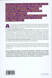 Grand Dictionnaire Des Noms De Famille - 4ème de couverture - Format classique
