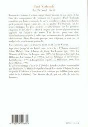 Le second recit l autre lecture de la genese - 4ème de couverture - Format classique