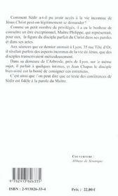 La vie inconnue de Jésus-Christ selon l'Enseignement de Maître Philippe - 4ème de couverture - Format classique