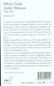 Andre malraux - une vie - 4ème de couverture - Format classique