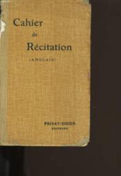 Cahier De Recitation. Anglais. - Couverture - Format classique