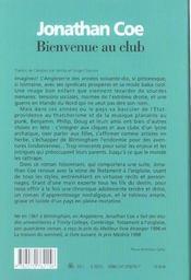 Bienvenue Au Club - 4ème de couverture - Format classique