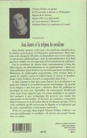 Jean jaures et la religion du socialisme - 4ème de couverture - Format classique