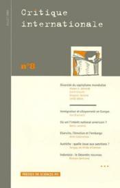 Revue Critique Internationale N.8 - Couverture - Format classique