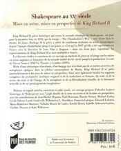 Shakespeare au xx siècle ; mises en scène, mises en perspective de king richard ii - 4ème de couverture - Format classique