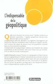 L'Indispensable De La Geopolitique - 4ème de couverture - Format classique