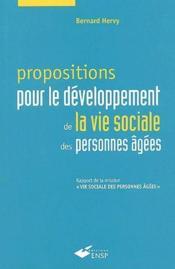 Proposition pour le développement de la vie sociale des personnes âgées - Couverture - Format classique