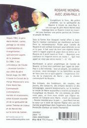 Rosaire Mondial Avec Jean-Paul Ii - 4ème de couverture - Format classique
