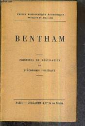 Bentham - Principes De Legislation Et D'Economie Politique. - Couverture - Format classique